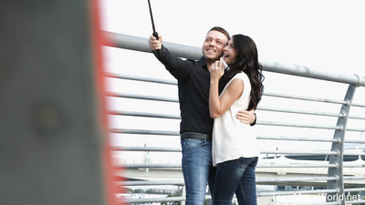 Lovers go for a walk when the dude confesses that he just bought a new selfie stick and still did not test it. So, he turns on the phone and shoots them kissing. That picture turns them on to such a level that they need to do something with their sex tension. That thought brings them back home, where they tease and caress each other on camera. Soon the dude undresses his sexy girlfriend and teases her pink clit with his talented tongue. He does not stop until he makes the hottie moan with a fantastic orgasm. Of course, he gets a couple of pleasures in return. He loves cutie's talents so much that he rewards her with a creampie in the end.